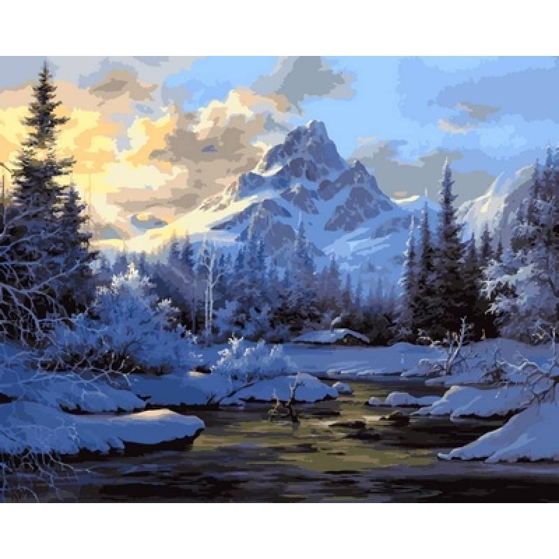 Картина по номерам Горный пейзаж зимой. Худ. Боб Росс, 40x50 см., Babylon