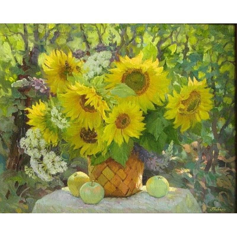 Картина по номерам Подсолнухи в солнечный день, 40x50 см., Babylon