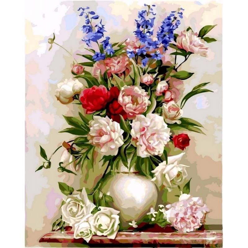 Картина по номерам Букет в белой вазе. Худ. Игорь Бузин, 40x50 см., Babylon