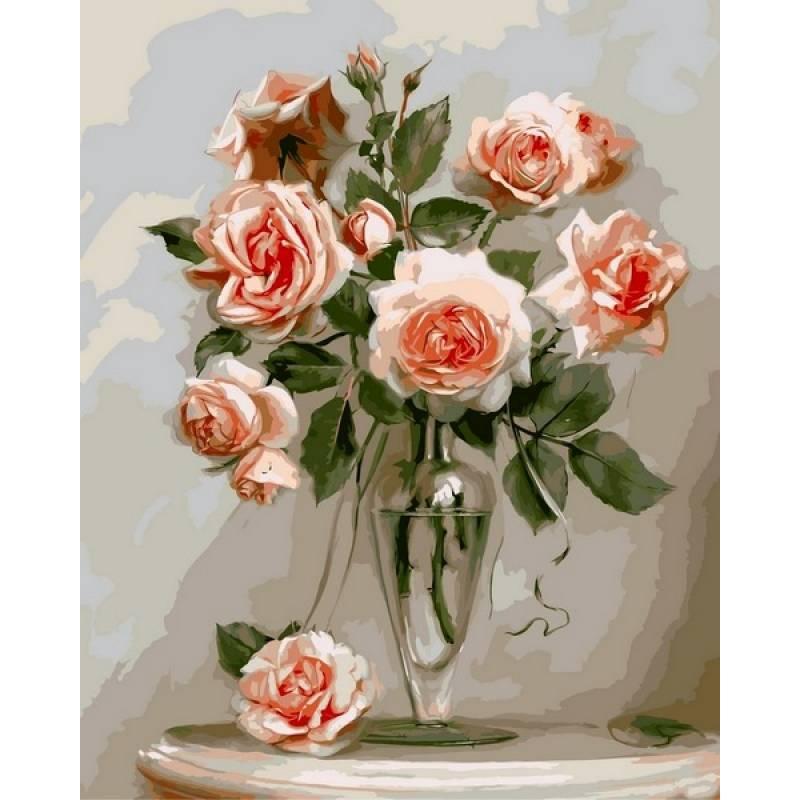 Картина по номерам Коралловые розы. Худ. Игорь Бузин, 40x50 см., Babylon