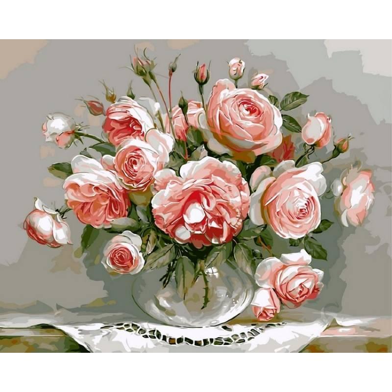 Картина по номерам VP327 Розовый букет. Худ. Игорь Бузин, 40x50 см., Babylon