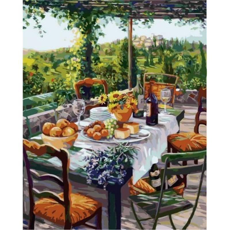 Картина по номерам  Завтрак с сыром и вином. Худ. Сьюзан Риос, 40x50 см., Babylon