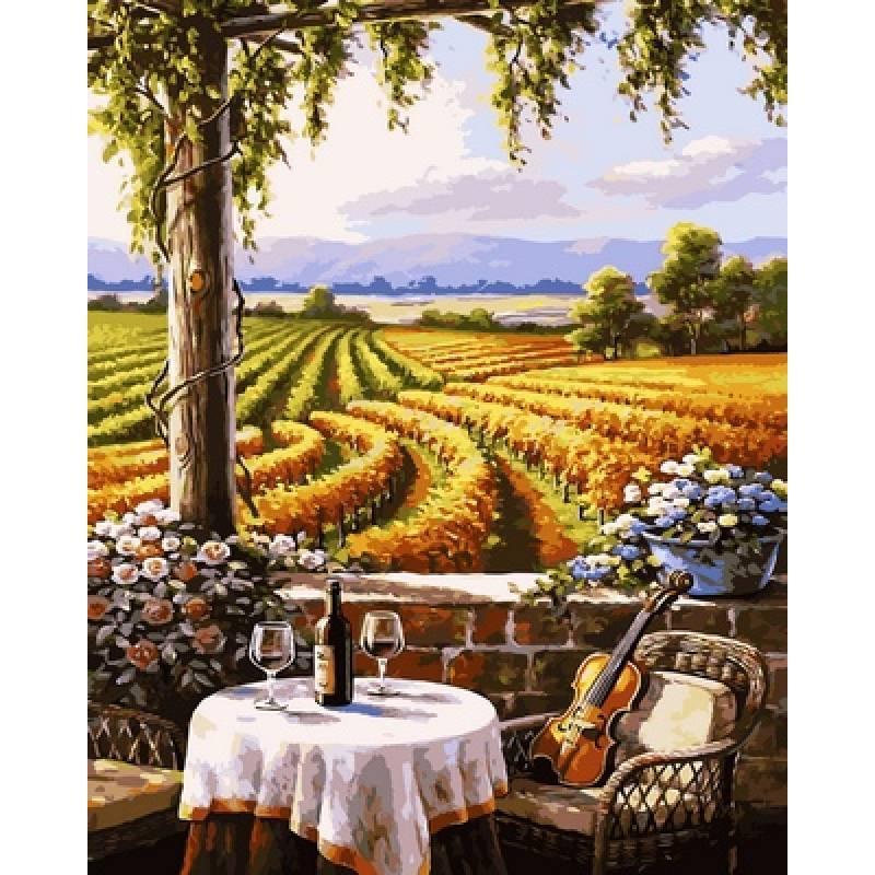 Картина по номерам  Вид на виноградники. Худ. Сьюзан Риос, 40x50 см., Babylon