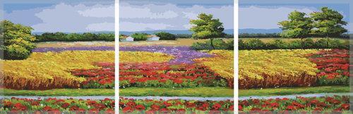 Картина по номерам Цветущие поля (Триптих), 50x150 см., Babylon