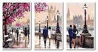 "Картина по номерам ""Цветущая набережная (Триптих)"", 50x90 см., Babylon"