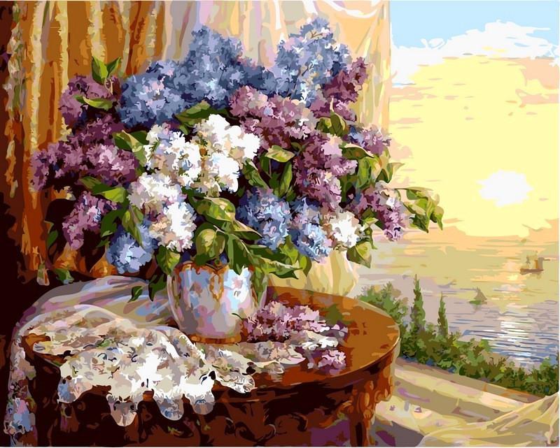Картина по номерам Сирень на окне. Худ. Ольга Дандорф, 50x65 см., Babylon