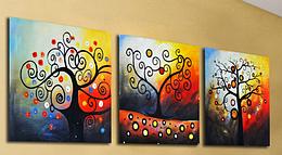 Картина по номерам Дерево счастья (Триптих), 50x150 см., Babylon