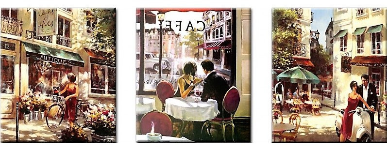 Картина по номерам Летняя романтика (Триптих), 50x150 см., Babylon