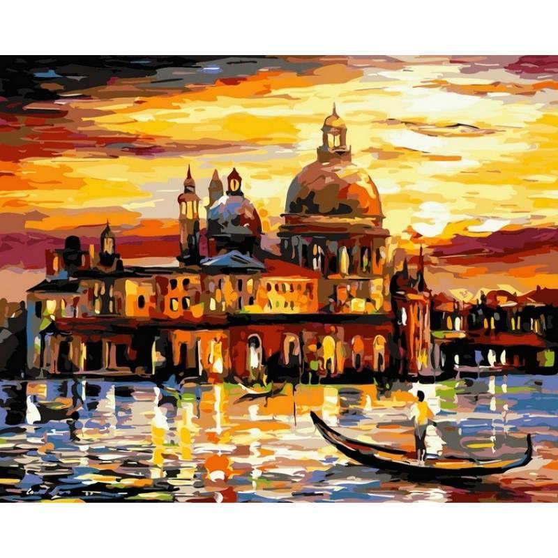Картина по номерам Золотое небо Венеции. Худ. Леонид Афремов, 50x65 см., Babylon