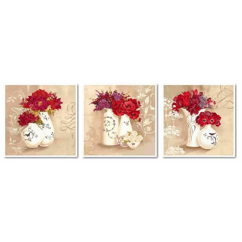 Картина по номерам VPT004 Красные букеты (Триптих), 50x150 см., Babylon