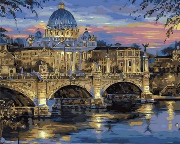 Картина по номерам Сумерки над Римом. Худ. Роберт Файнэл, 40x50 см., Mariposa