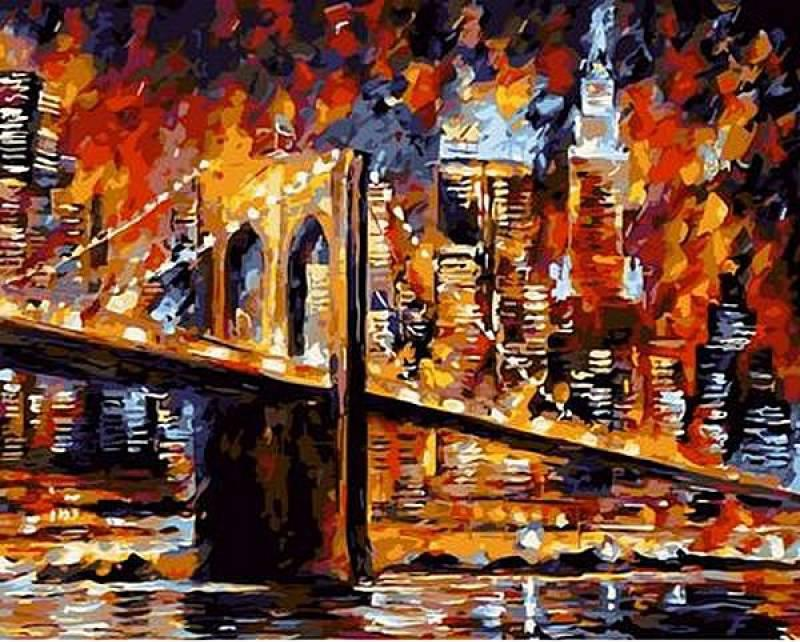 Картина по номерам Q687 Бруклинский мост. Худ. Леонид Афремов, 40x50 см., Mariposa