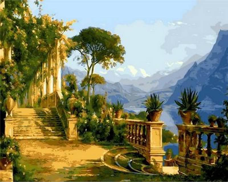 Картина по номерам Особняк с видом на море. Худ. Карл Агард, 40x50 см., Mariposa