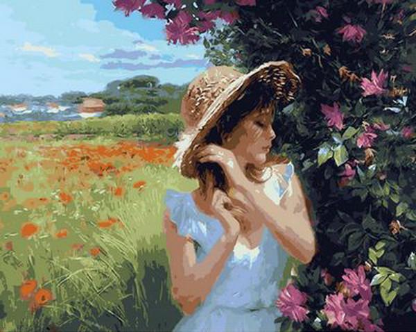 Картина по номерам Девушка в соломенной шляпке, 40x50 см., Mariposa