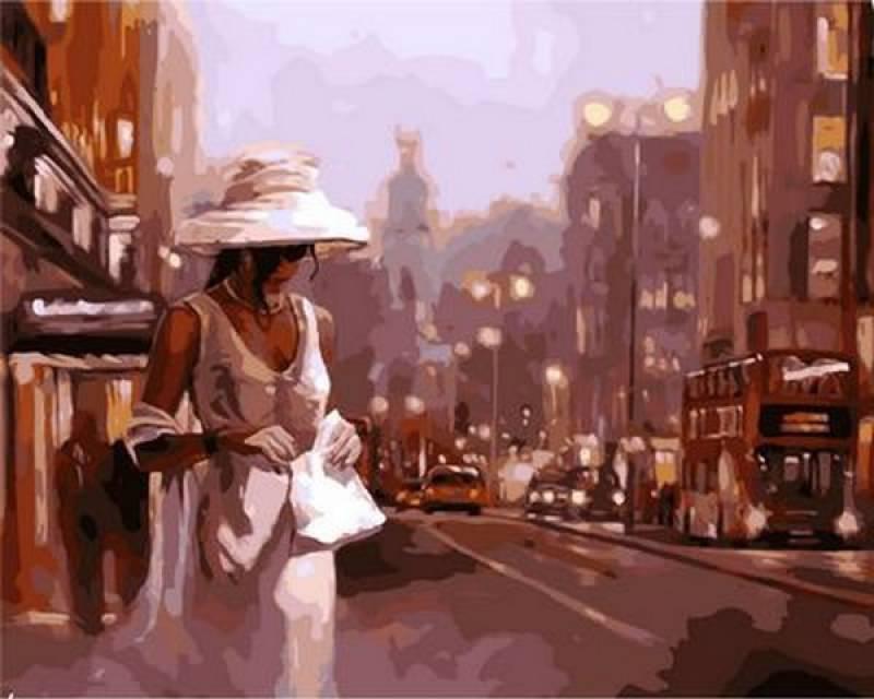 Картина по номерам Дама в белом. Худ. Спейн Марк, 40x50 см., Mariposa