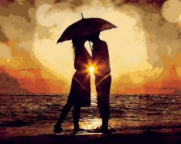 Картина по номерам Поцелуй на закате, 40x50 см., Mariposa