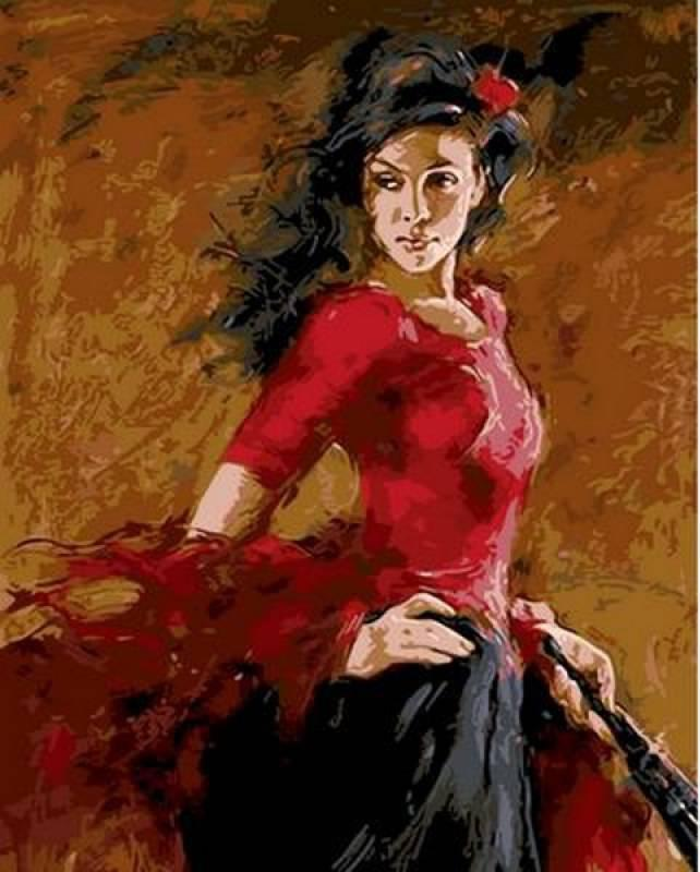 Картина по номерам Танцовщица фламенко. Худ. Андрей Атрошенко, 40x50 см., Mariposa