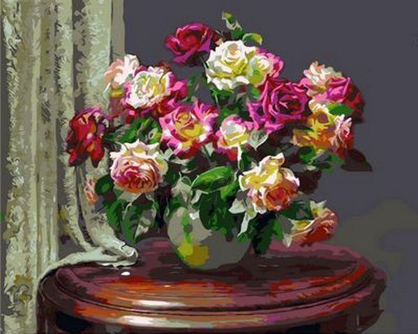 Картина по номерам Чайные розы. Худ. Анн Мортон, 40x50 см., Mariposa