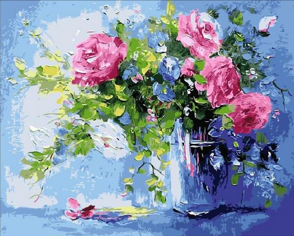 Картина по номерам Небесно-розовый букет. Худ. Ольга Дарчук, 40x50 см., Mariposa