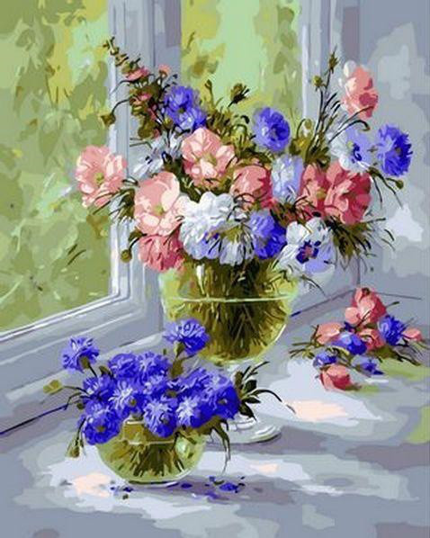 Картина по номерам Нежные васильки Худ Хайц Шоллхаймер , 40x50 см., Mariposa