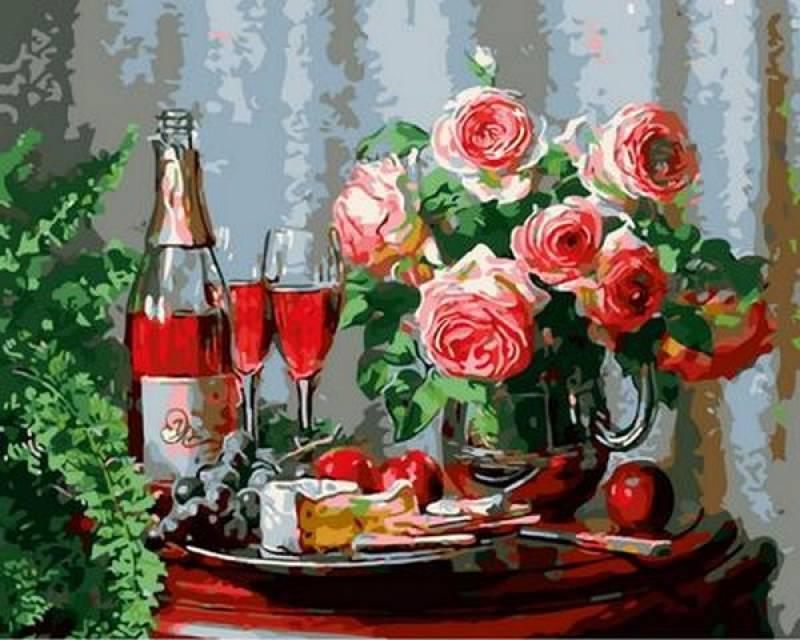 Картина по номерам Натюрморт с сыром и красным вином. Худ. Анн Мортон, 40x50 см., Mariposa