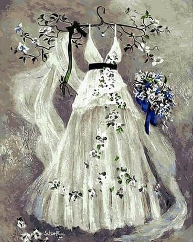 Картина по номерам Платье невесты, 40x50 см., Mariposa