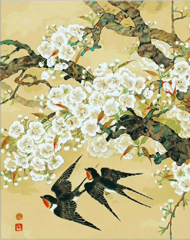 Картина по номерам Ласточки и ветви миндаля, 40x50 см., Mariposa
