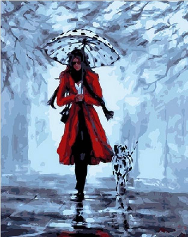 Картина по номерам Девушка с далматинцем. Худ. Хелен Коттл, 40x50 см., Mariposa
