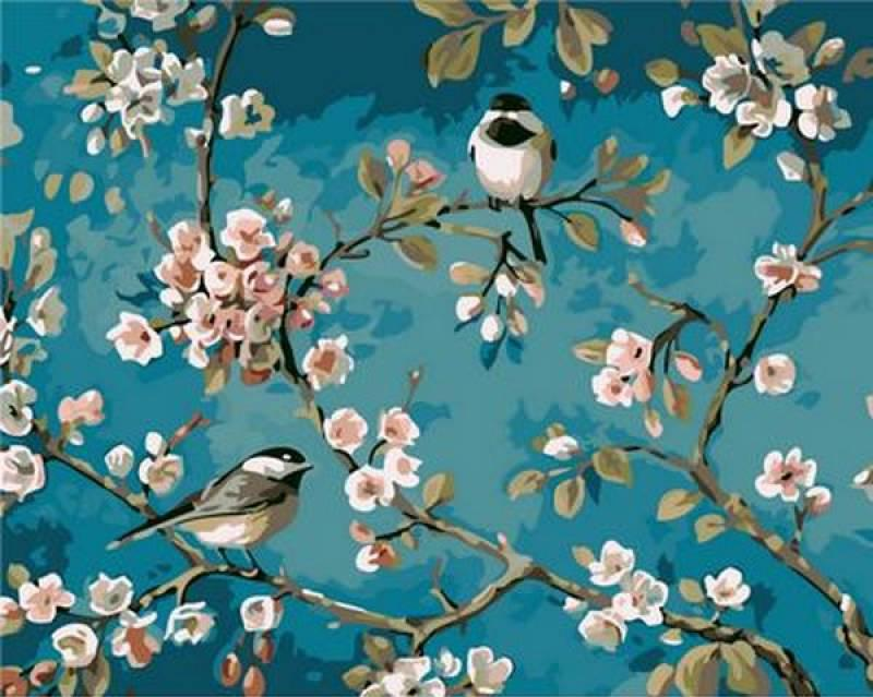Картина по номерам Синички на яблоне, 40x50 см., Mariposa
