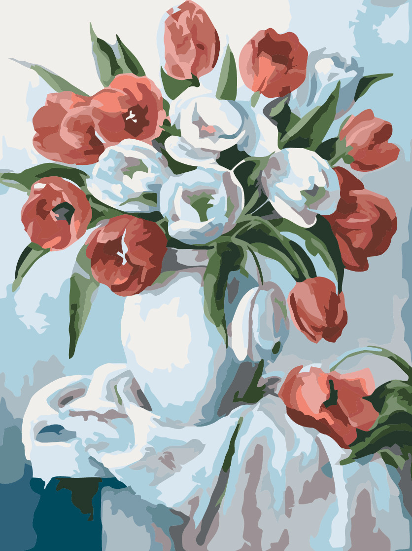Картина по номерам Букет ярких тюльпанов, 30x40 см., Идейка