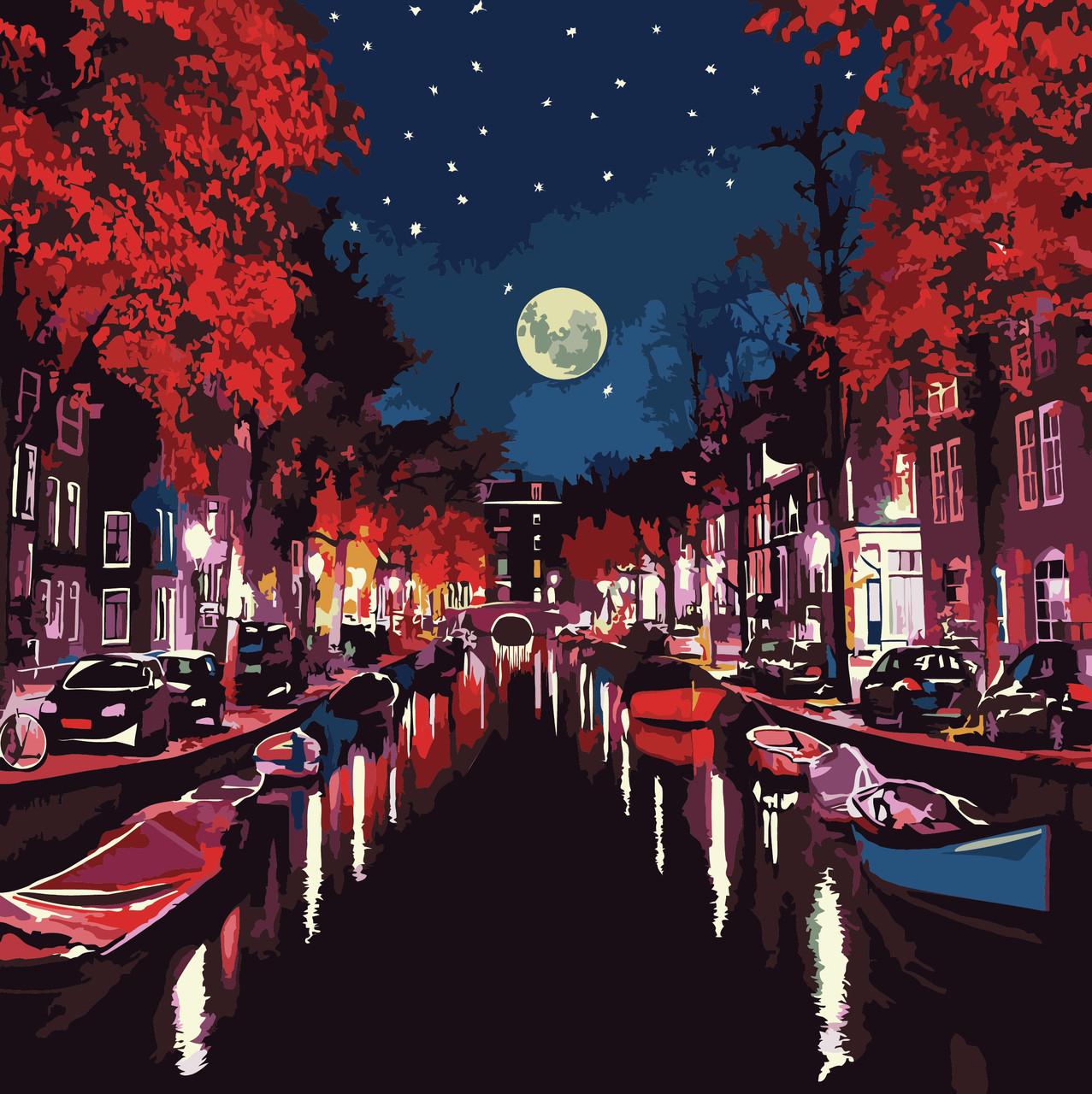 Картина по номерам Ночью в Амстердаме, 40x40 см., Идейка