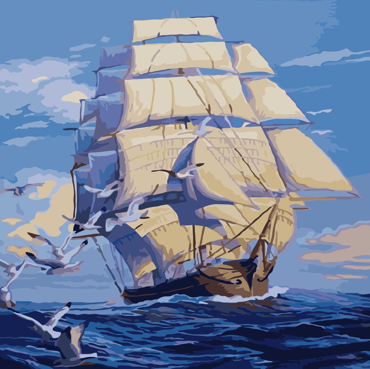 Картина по номерам На всех парусах, 40x40 см., Идейка