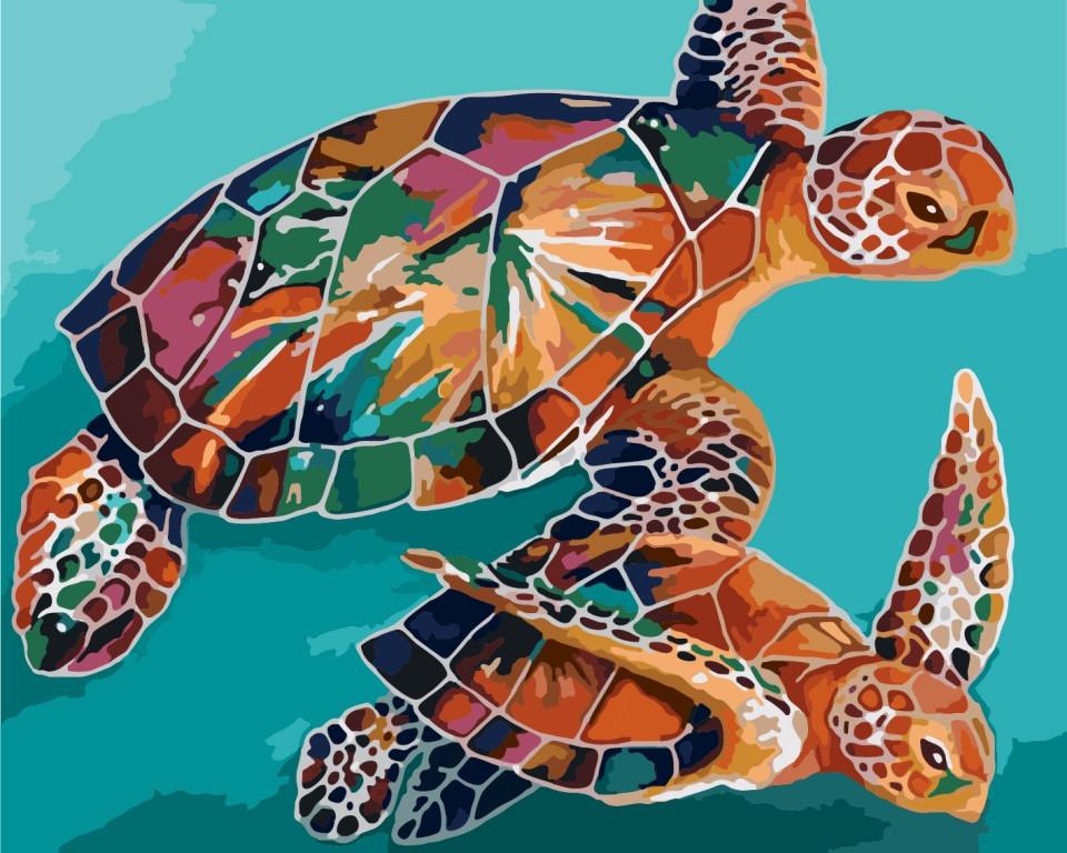 Картина по номерам КНО2455 Радужные черепахи, 40x50 см., Идейка