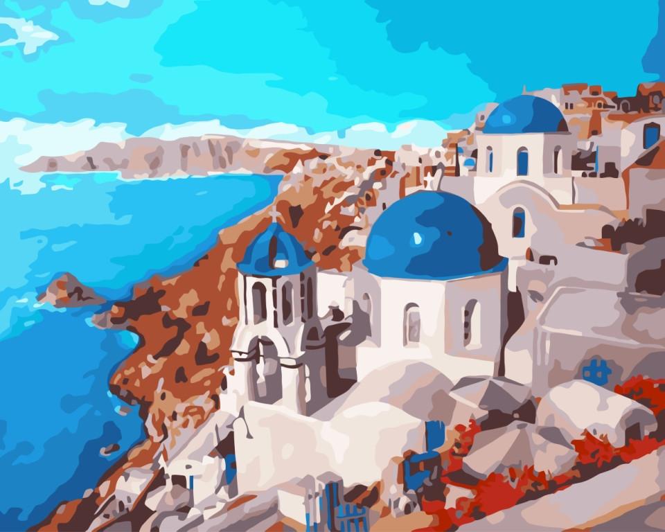 Картина по номерам Санторини, 40x50 см., Идейка