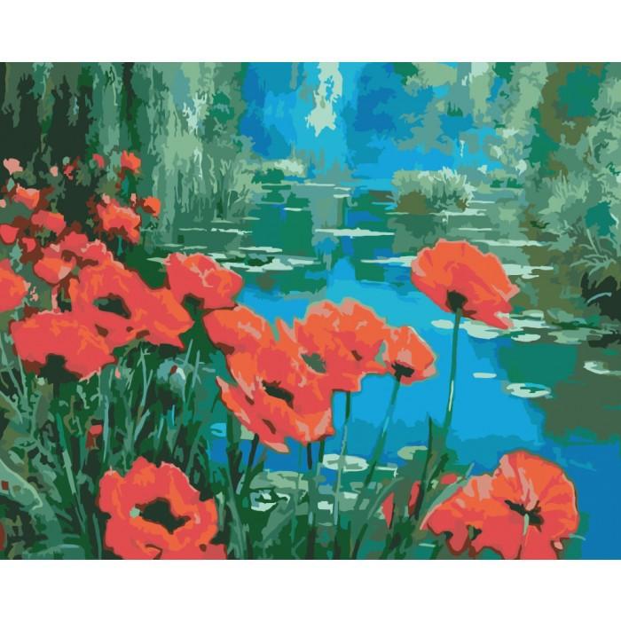 Картина по номерам Маки у пруда, 40x50 см., Идейка
