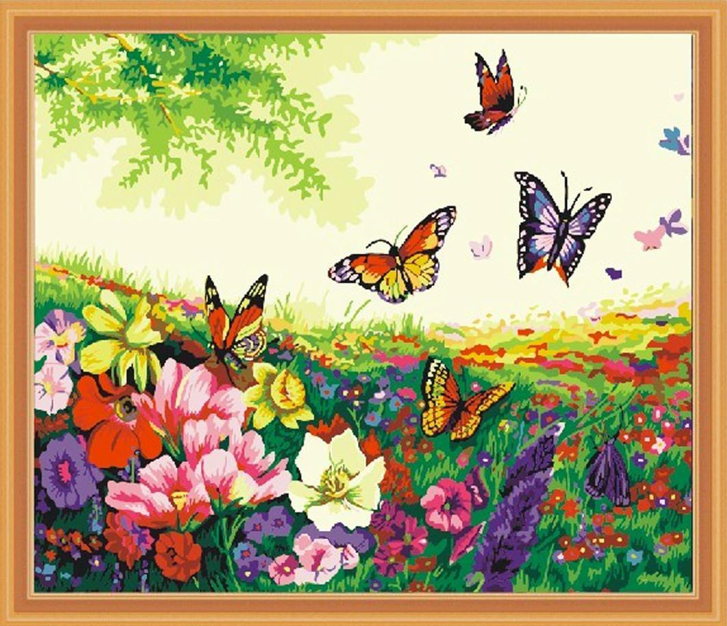 Картина по номерам Цветы и бабочки, 40x50 см., Идейка