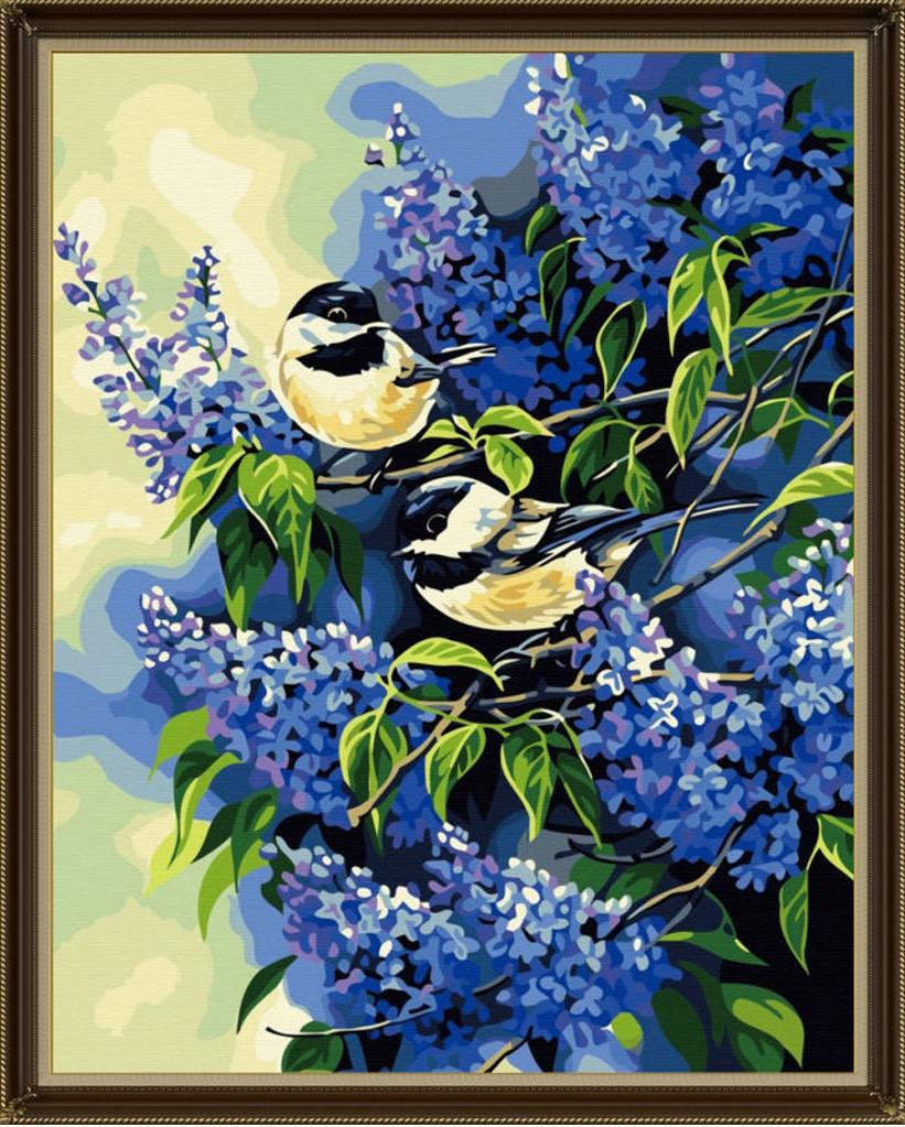 Картина по номерам Птички на ветках сирени, 40x50 см., Идейка