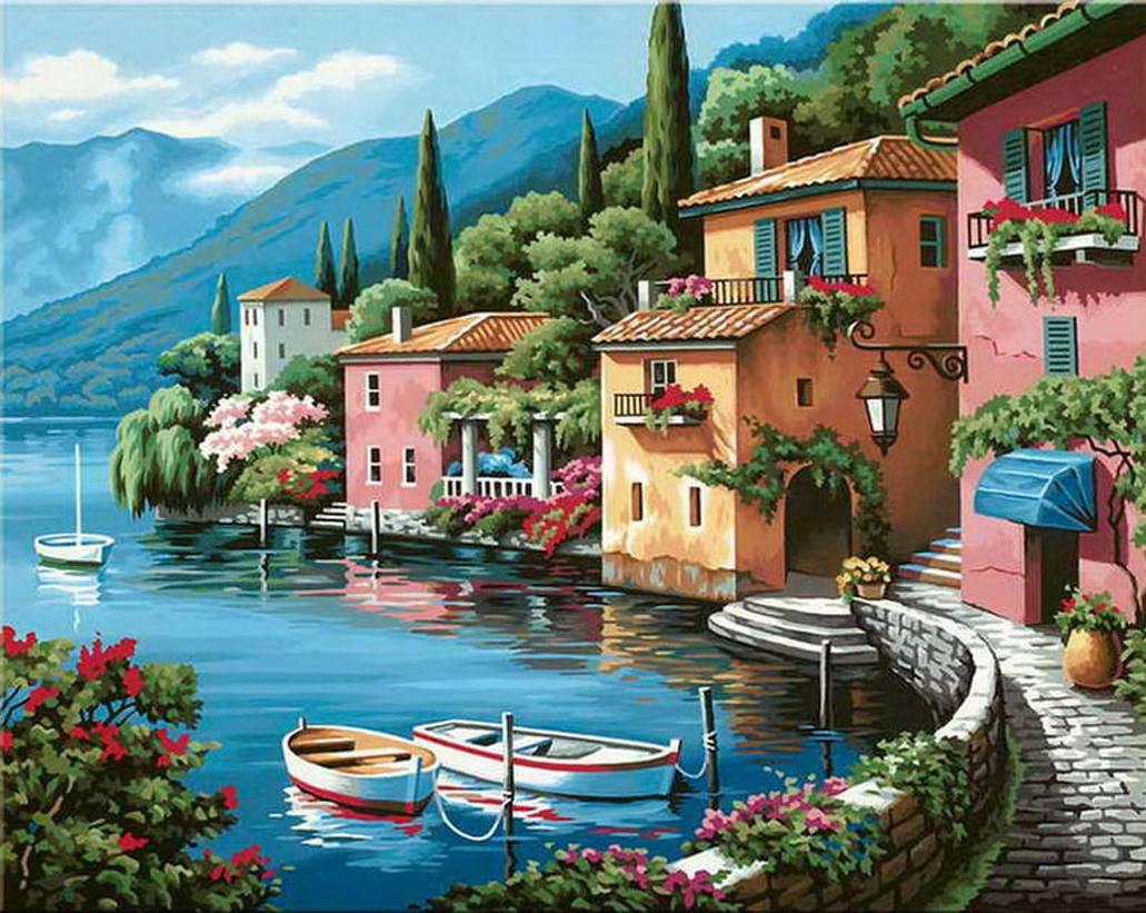 Картина по номерам Итальянская набережная, 40x50 см., Идейка
