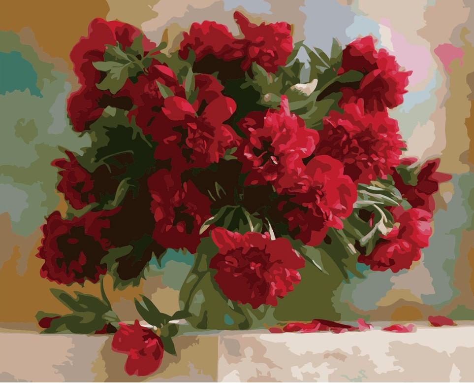 Картина по номерам Красные пионы, 40x50 см., Идейка