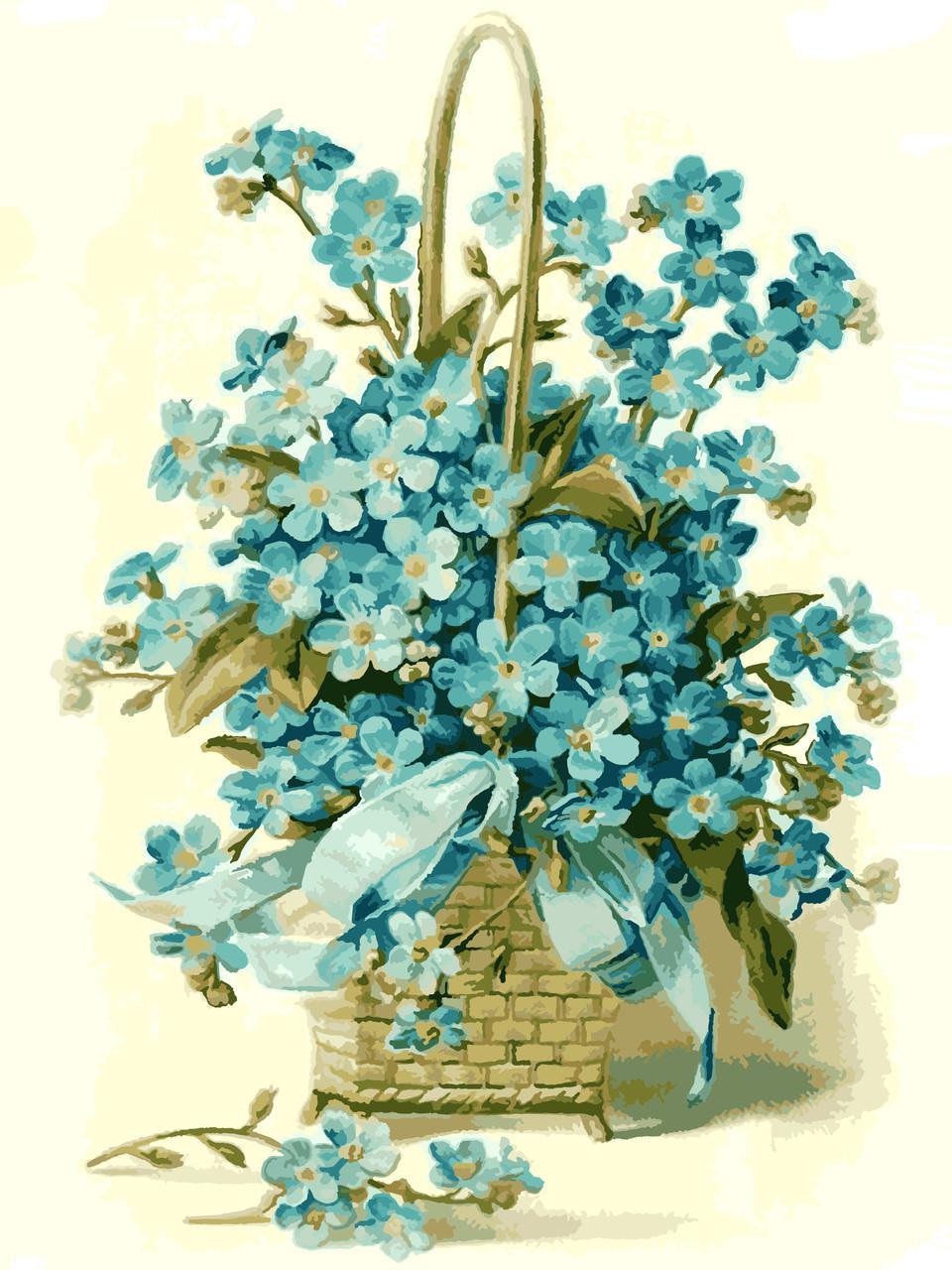 Картина по номерам Корзинка цветов, 30x40 см., Идейка
