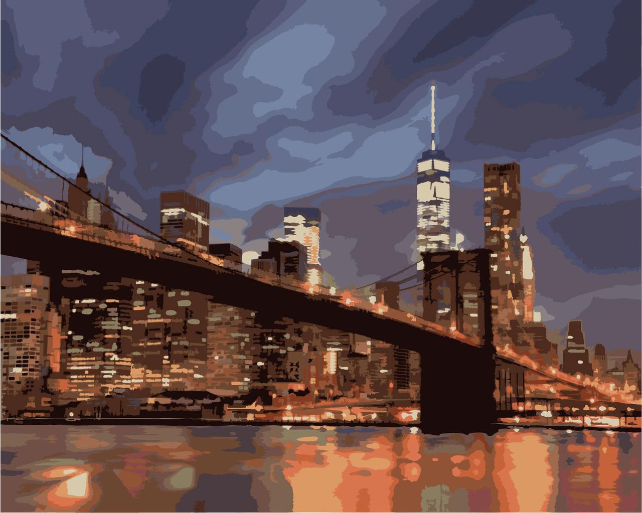Картина по номерам Ночной Нью-Йорк, 40x50 см., Идейка