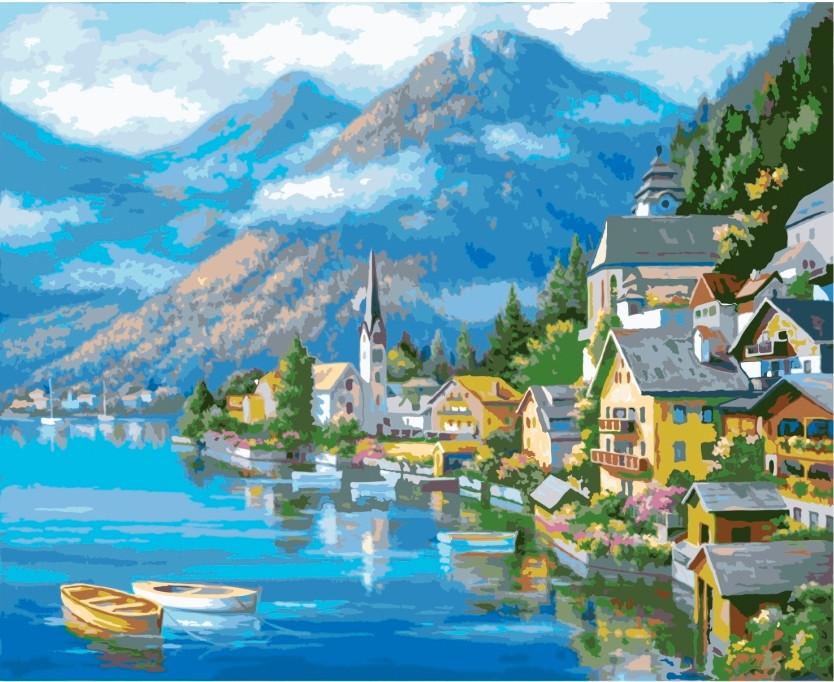 Картина по номерам Альпийская деревня, 40x50 см., Идейка