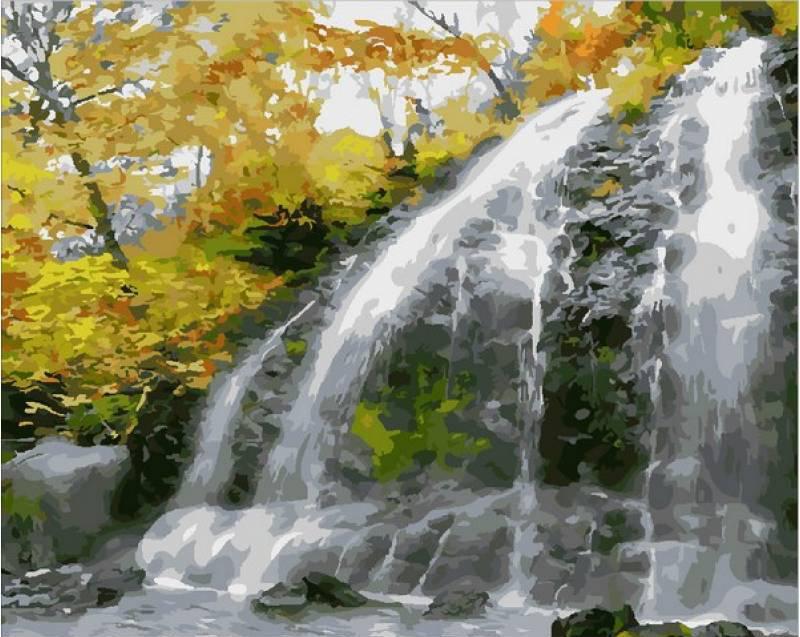 Картина по номерам Водопад и золотые листья, 40x50 см., Mariposa