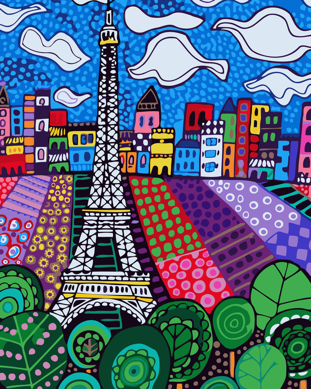 Картина по номерам Облака над Парижем, 40x50 см., Идейка