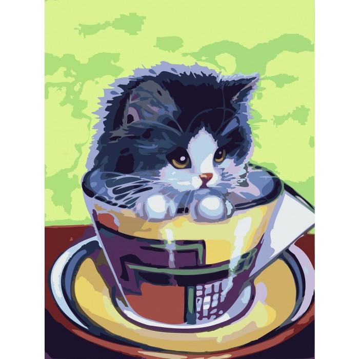 Картина по номерам Котенок в чашке, 30x40 см., Идейка