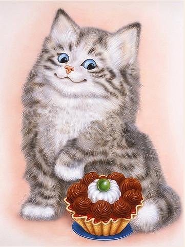 Алмазная вышивка Котенок сладкоежка