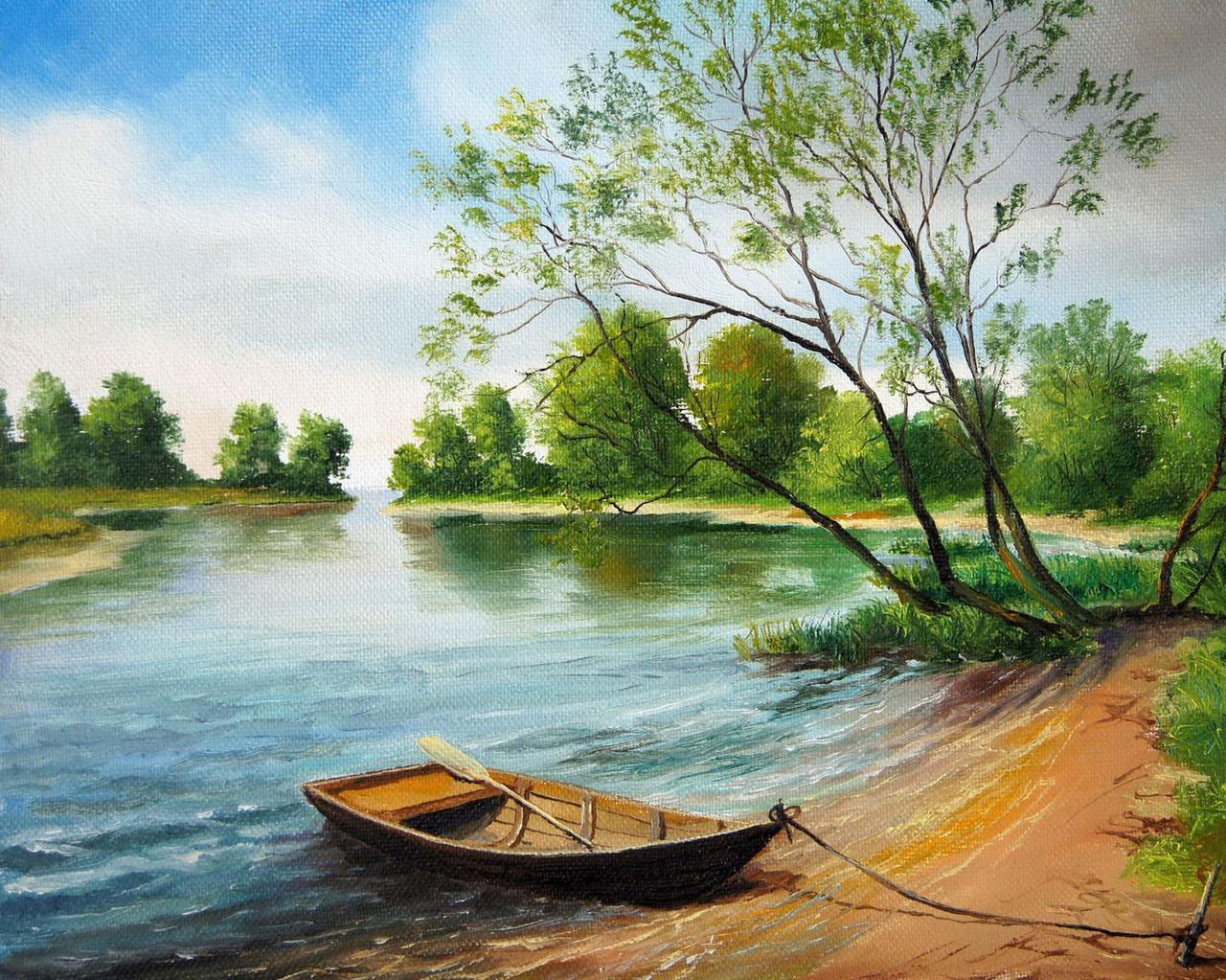Алмазная вышивка Лодка у берега
