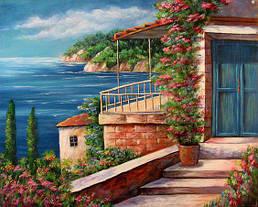 Алмазная вышивка Дом на берегу моря