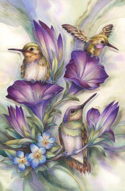 Алмазная вышивка Птицы в цветах 114
