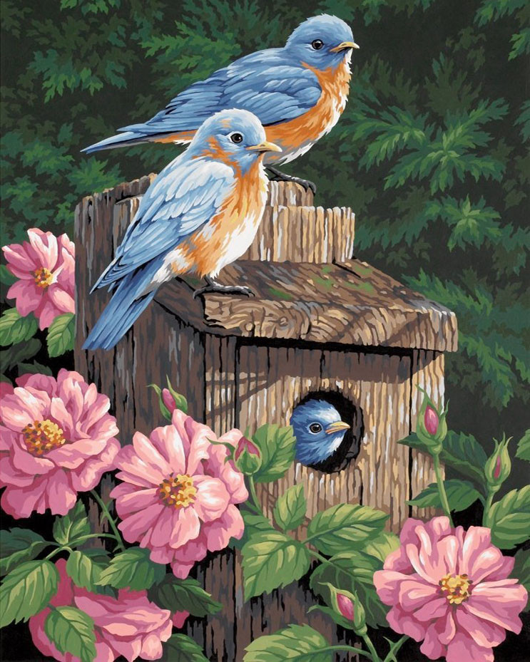 Алмазная вышивка Птичий дом в пионах 117